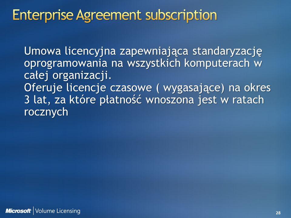 28 Umowa licencyjna zapewniająca standaryzację oprogramowania na wszystkich komputerach w całej organizacji. Oferuje licencje czasowe ( wygasające) na