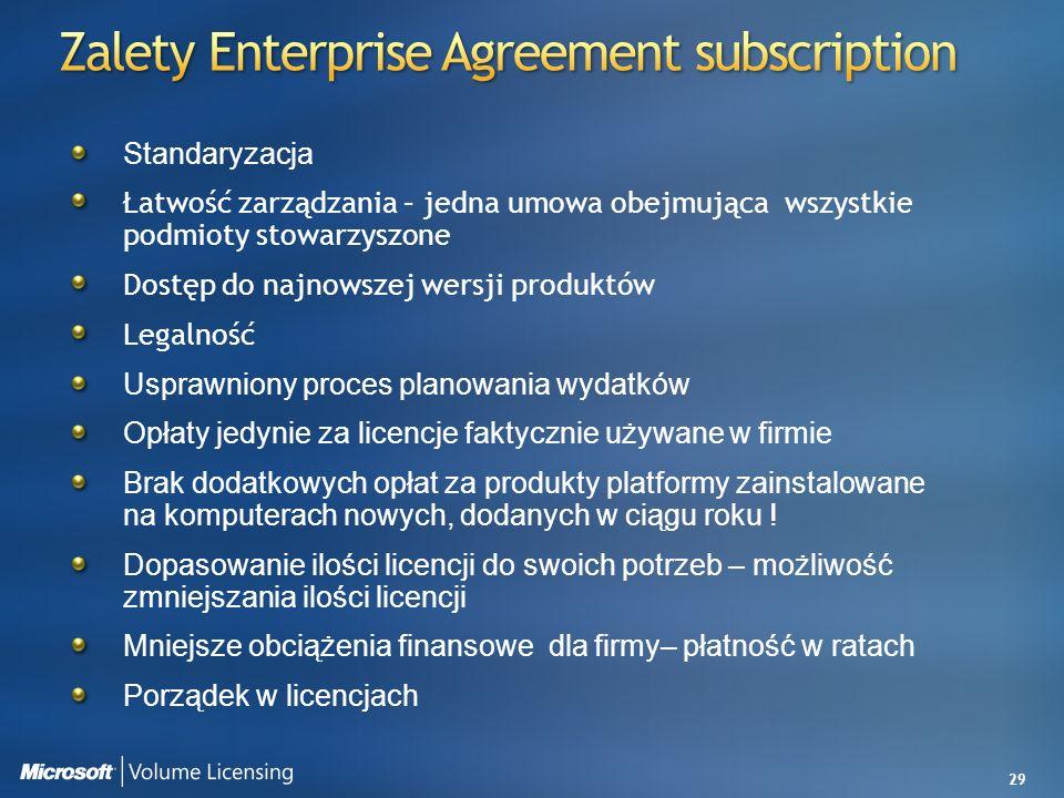 29 Standaryzacja Łatwość zarządzania – jedna umowa obejmująca wszystkie podmioty stowarzyszone Dostęp do najnowszej wersji produktów Legalność Usprawn