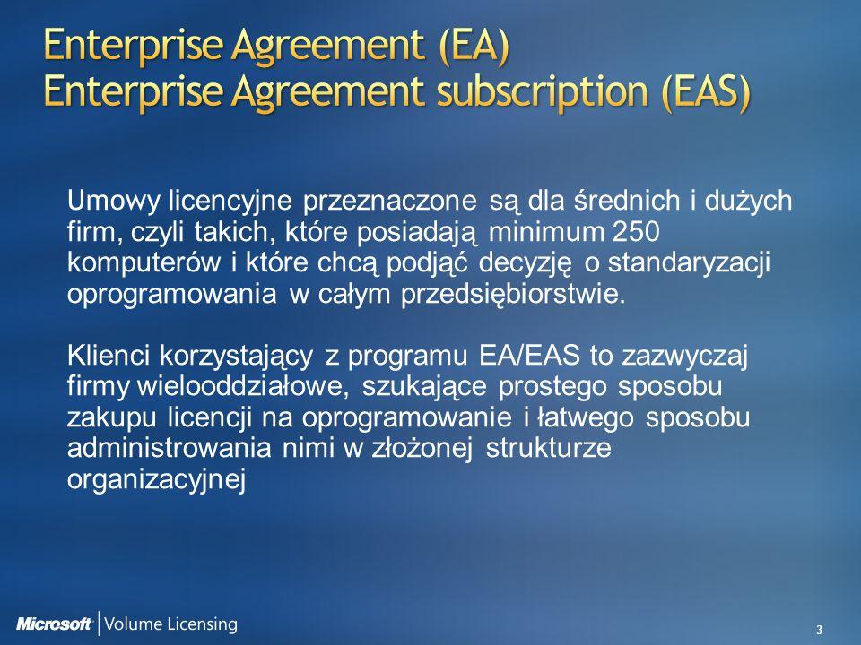 3 Umowy licencyjne przeznaczone są dla średnich i dużych firm, czyli takich, które posiadają minimum 250 komputerów i które chcą podjąć decyzję o stan