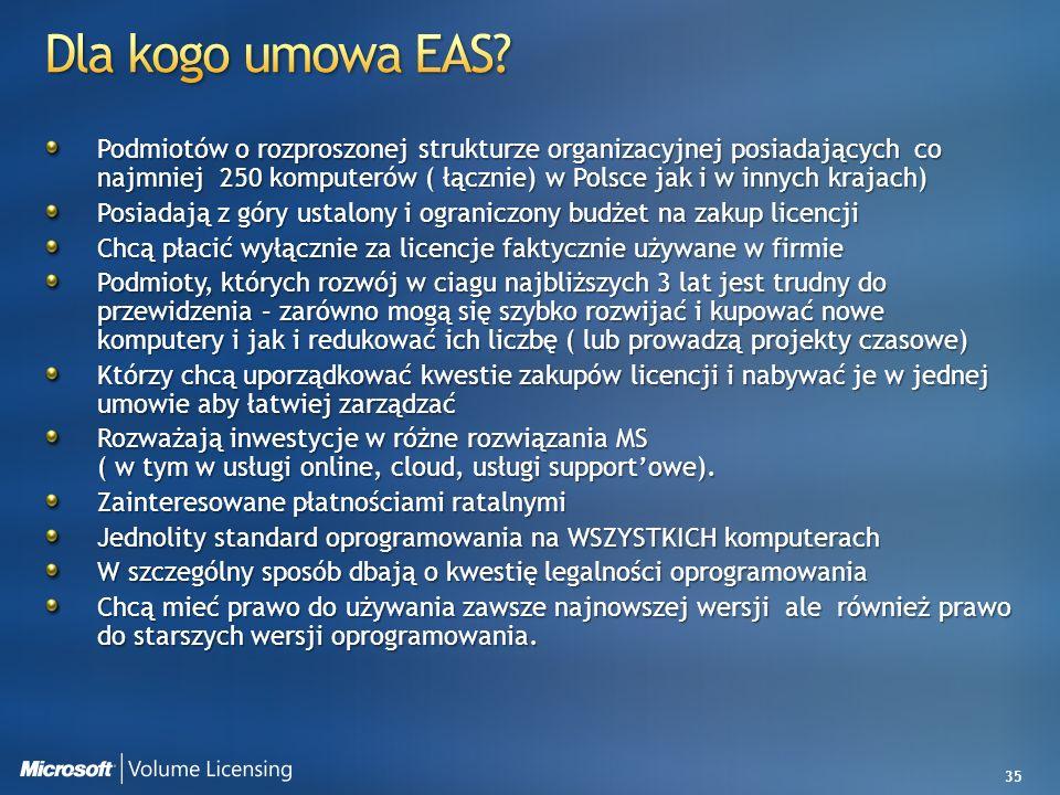 35 Podmiotów o rozproszonej strukturze organizacyjnej posiadających co najmniej 250 komputerów ( łącznie) w Polsce jak i w innych krajach) Posiadają z