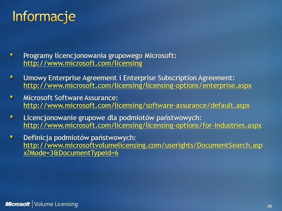 36 Programy licencjonowania grupowego Microsoft: http://www.microsoft.com/licensing http://www.microsoft.com/licensing Umowy Enterprise Agreement i En