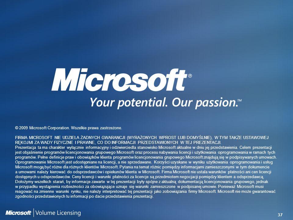 37 © 2009 Microsoft Corporation. Wszelkie prawa zastrzeżone. FIRMA MICROSOFT NIE UDZIELA ŻADNYCH GWARANCJI (WYRAŻONYCH WPROST LUB DOMYŚLNIE), W TYM TA