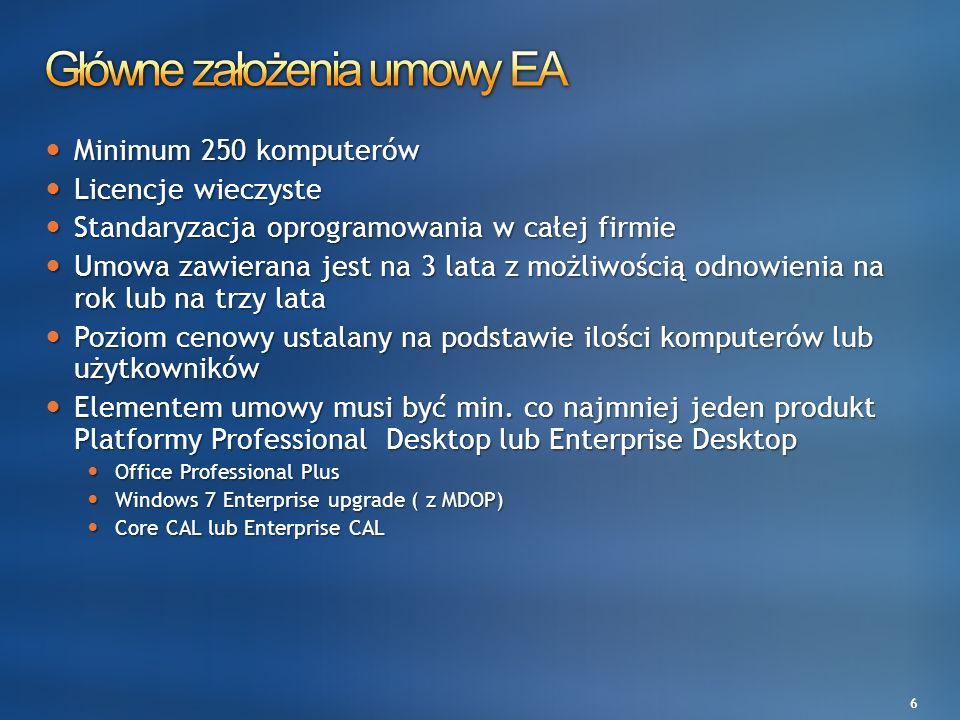 6 Minimum 250 komputerów Minimum 250 komputerów Licencje wieczyste Licencje wieczyste Standaryzacja oprogramowania w całej firmie Standaryzacja oprogr