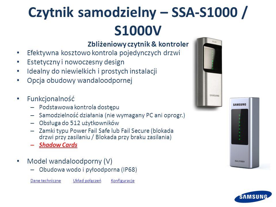 Czytnik samodzielny – SSA-S1000 / S1000V Zbliżeniowy czytnik & kontroler Efektywna kosztowo kontrola pojedynczych drzwi Estetyczny i nowoczesny design Idealny do niewielkich i prostych instalacji Opcja obudowy wandaloodpornej Funkcjonalność – Podstawowa kontrola dostępu – Samodzielność działania (nie wymagany PC ani oprogr.) – Obsługa do 512 użytkowników – Zamki typu Power Fail Safe lub Fail Secure (blokada drzwi przy zasilaniu / Blokada przy braku zasilania) – Shadow Cards Model wandaloodporny (V) – Obudowa wodo i pyłoodporna (IP68) Dane techniczneDane techniczne Układ połączeń KonfiguracjeUkład połączeńKonfiguracje