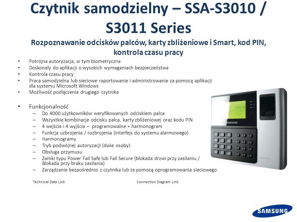 Czytnik samodzielny – SSA-S3010 / S3011 Series Rozpoznawanie odcisków palców, karty zbliżeniowe i Smart, kod PIN, kontrola czasu pracy Potrójna autoryzacja, w tym biometryczna Doskonały do aplikacji o wysokich wymaganiach bezpieczeństwa Kontrola czasu pracy Praca samodzielna lub sieciowe raportowanie i administrowanie za pomocą aplikacji dla systemu Microsoft Windows Możliwość podłączenia drugiego czytnika Funkcjonalność – Do 4000 użytkowników weryfikowanych odciskiem palca – Wszystkie kombinacje odcisku palca, karty zbliżeniowej oraz kodu PIN – 4 wejścia i 4 wyjścia – programowalne + harmonogram – Funkcja uzbrojenia / rozbrojenia (interfejs do systemu alarmowego) – Harmonogramy – Tryb podwójnej autoryzacji (dwie osoby) – Obsługa przymusu – Zamki typu Power Fail Safe lub Fail Secure (blokada drzwi przy zasilaniu / Blokada przy braku zasilania) – Zarządzanie bezpośrednio z czytnika lub za pomocą oprogramowania sieciowego Technical Data LinkConnection Diagram Link