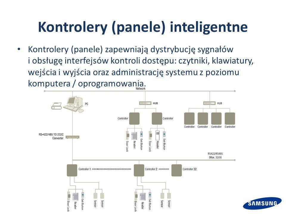 Kontrolery (panele) inteligentne Kontrolery (panele) zapewniają dystrybucję sygnałów i obsługę interfejsów kontroli dostępu: czytniki, klawiatury, wejścia i wyjścia oraz administrację systemu z poziomu komputera / oprogramowania.