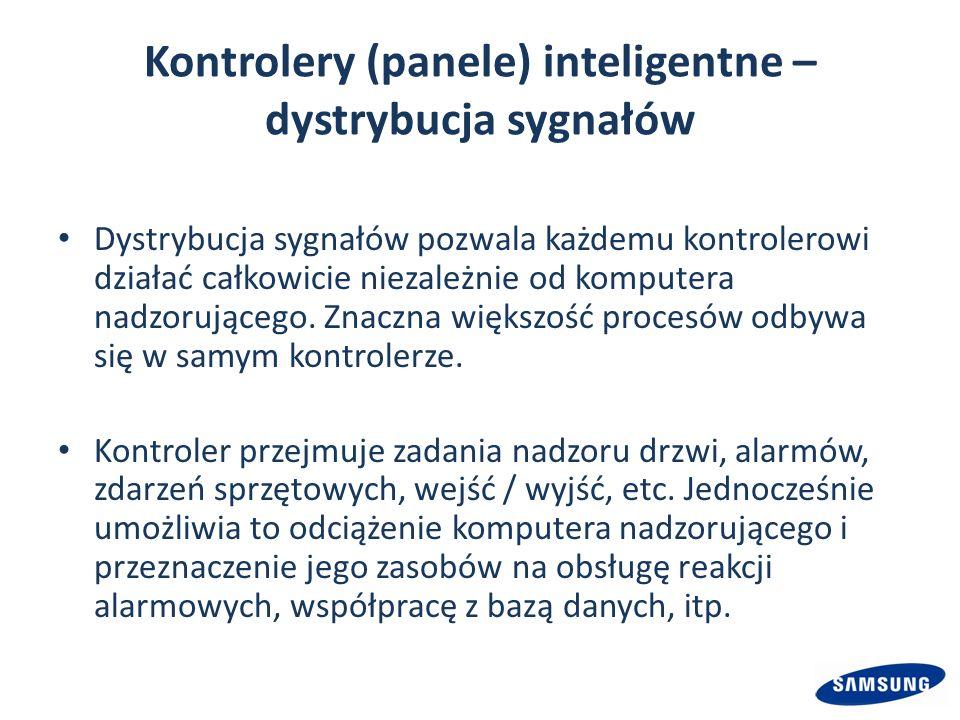 Kontrolery (panele) inteligentne – dystrybucja sygnałów Dystrybucja sygnałów pozwala każdemu kontrolerowi działać całkowicie niezależnie od komputera nadzorującego.