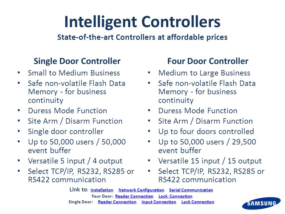 Intelligent Controllers State-of-the-art Controllers at affordable prices Single Door Controller Small to Medium Business Safe non-volatile Flash Data Memory - for business continuity Duress Mode Function Site Arm / Disarm Function Single door controller Up to 50,000 users / 50,000 event buffer Versatile 5 input / 4 output Select TCP/IP, RS232, RS285 or RS422 communication Four Door Controller Medium to Large Business Safe non-volatile Flash Data Memory - for business continuity Duress Mode Function Site Arm / Disarm Function Up to four doors controlled Up to 50,000 users / 29,500 event buffer Versatile 15 input / 15 output Select TCP/IP, RS232, RS285 or RS422 communication Link to : Installation Network Configuration Serial CommunicationInstallationNetwork ConfigurationSerial Communication Four Door: Reader Connection Lock ConnectionReader ConnectionLock Connection Single Door: Reader Connection Input Connection Lock ConnectionReader ConnectionInput ConnectionLock Connection