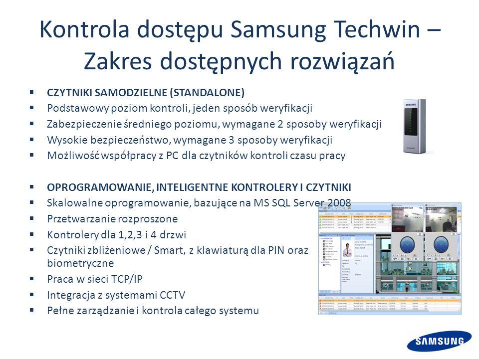Kontrola dostępu Samsung Techwin – Zakres dostępnych rozwiązań CZYTNIKI SAMODZIELNE (STANDALONE) Podstawowy poziom kontroli, jeden sposób weryfikacji Zabezpieczenie średniego poziomu, wymagane 2 sposoby weryfikacji Wysokie bezpieczeństwo, wymagane 3 sposoby weryfikacji Możliwość współpracy z PC dla czytników kontroli czasu pracy OPROGRAMOWANIE, INTELIGENTNE KONTROLERY I CZYTNIKI Skalowalne oprogramowanie, bazujące na MS SQL Server 2008 Przetwarzanie rozproszone Kontrolery dla 1,2,3 i 4 drzwi Czytniki zbliżeniowe / Smart, z klawiaturą dla PIN oraz biometryczne Praca w sieci TCP/IP Integracja z systemami CCTV Pełne zarządzanie i kontrola całego systemu