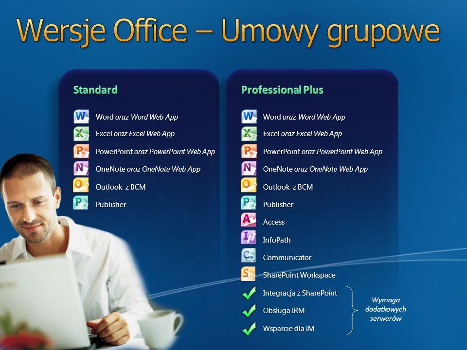 Word oraz Word Web App Excel oraz Excel Web App PowerPoint oraz PowerPoint Web App OneNote oraz OneNote Web App Outlook z BCM PublisherAccessInfoPathC
