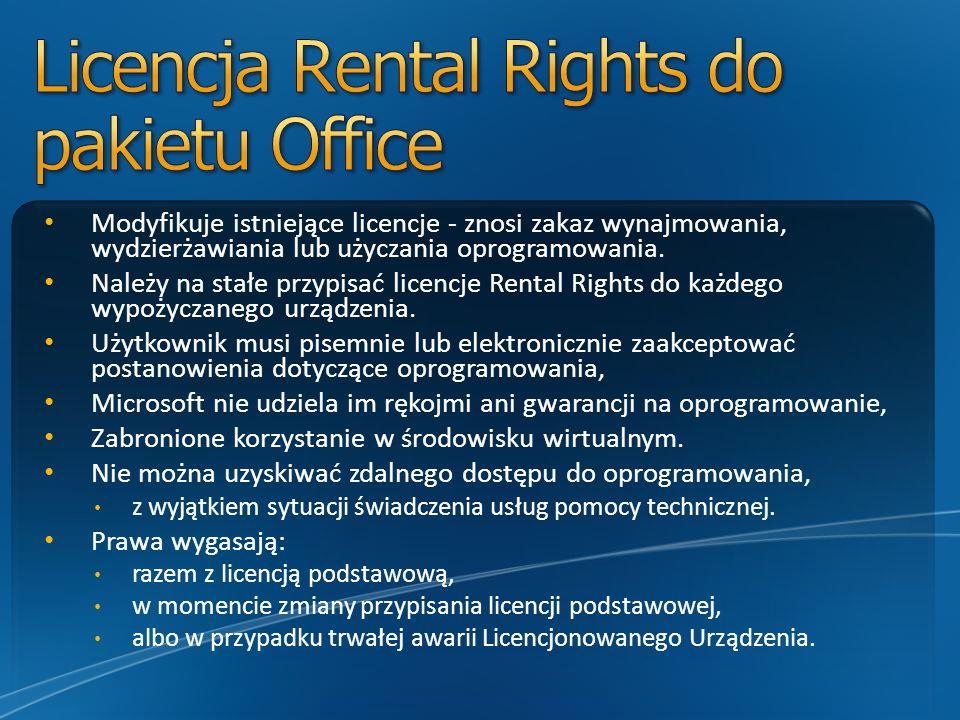 Modyfikuje istniejące licencje - znosi zakaz wynajmowania, wydzierżawiania lub użyczania oprogramowania. Należy na stałe przypisać licencje Rental Rig