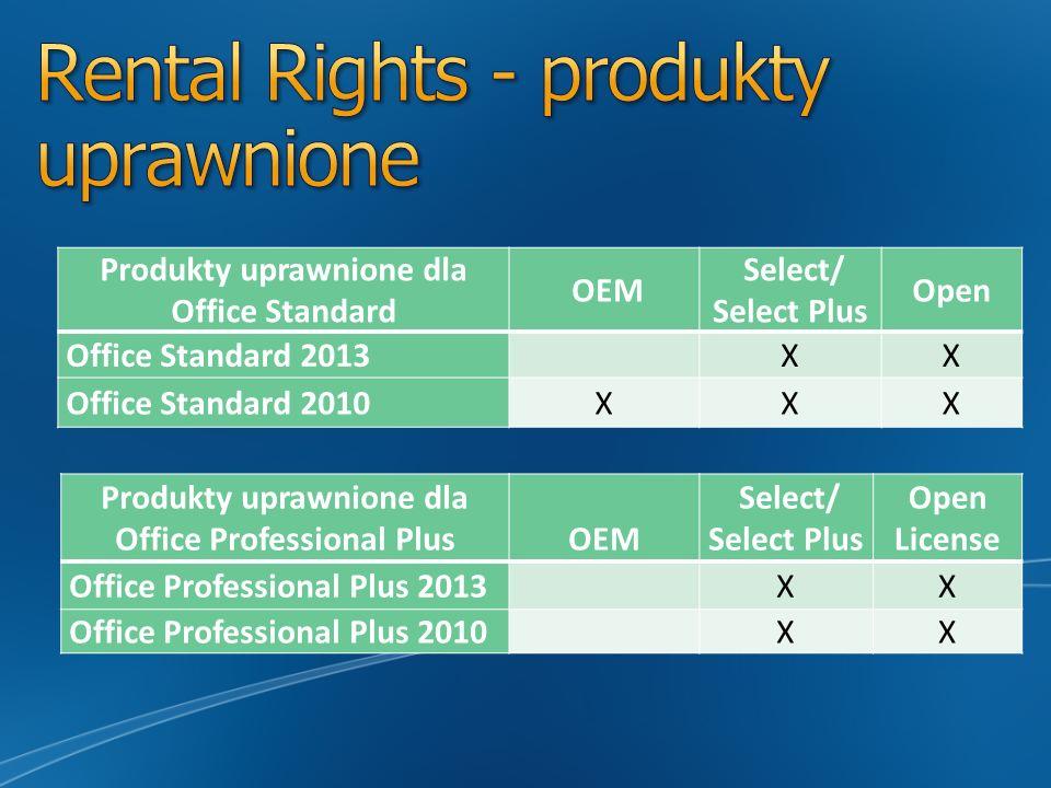 Produkty uprawnione dla Office Standard OEM Select/ Select Plus Open Office Standard 2013 XX Office Standard 2010XXX Produkty uprawnione dla Office Pr