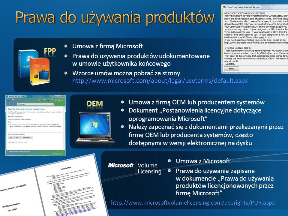 Umowa z firmą Microsoft Prawa do używania produktów udokumentowane w umowie użytkownika końcowego Wzorce umów można pobrać ze strony http://www.microsoft.com/about/legal/useterms/default.aspx http://www.microsoft.com/about/legal/useterms/default.aspx Umowa z Microsoft Prawa do używania zapisane w dokumencie Prawa do używania produktów licencjonowanych przez firmę Microsoft Umowa z firmą OEM lub producentem systemów Dokument Postanowienia licencyjne dotyczące oprogramowania Microsoft Należy zapoznać się z dokumentami przekazanymi przez firmę OEM lub producenta systemów, często dostępnymi w wersji elektronicznej na dysku http://www.microsoftvolumelicensing.com/userights/PUR.aspx