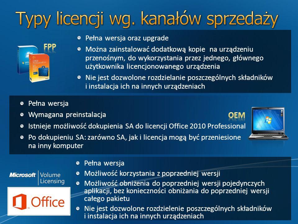 Pełna wersja Wymagana preinstalacja Istnieje możliwość dokupienia SA do licencji Office 2010 Professional Po dokupieniu SA: zarówno SA, jak i licencja