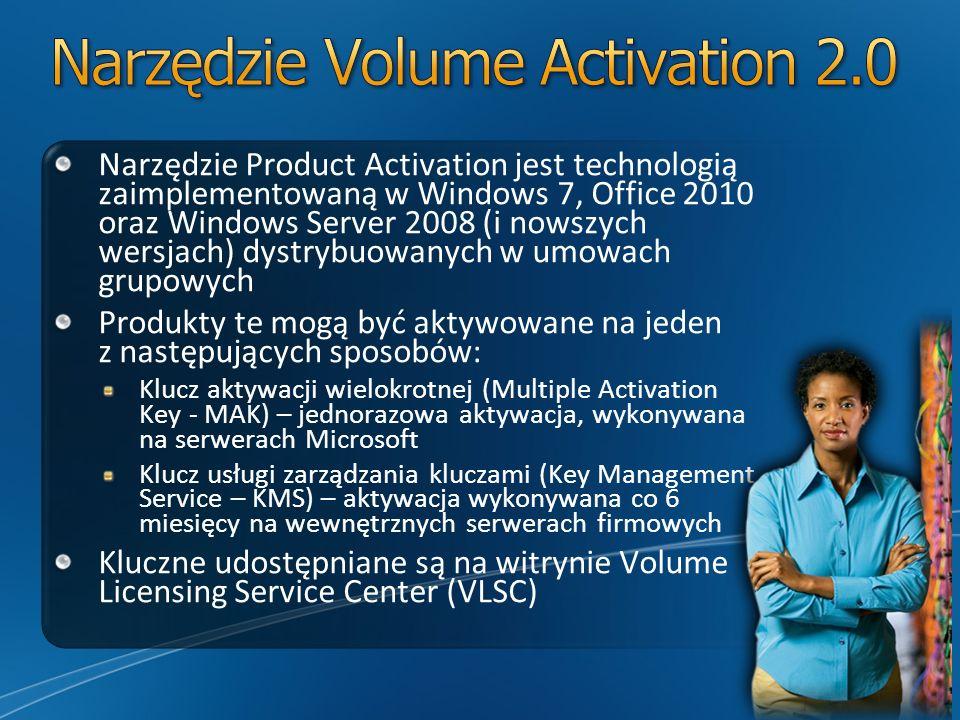 Narzędzie Product Activation jest technologią zaimplementowaną w Windows 7, Office 2010 oraz Windows Server 2008 (i nowszych wersjach) dystrybuowanych w umowach grupowych Produkty te mogą być aktywowane na jeden z następujących sposobów: Klucz aktywacji wielokrotnej (Multiple Activation Key - MAK) – jednorazowa aktywacja, wykonywana na serwerach Microsoft Klucz usługi zarządzania kluczami (Key Management Service – KMS) – aktywacja wykonywana co 6 miesięcy na wewnętrznych serwerach firmowych Kluczne udostępniane są na witrynie Volume Licensing Service Center (VLSC)