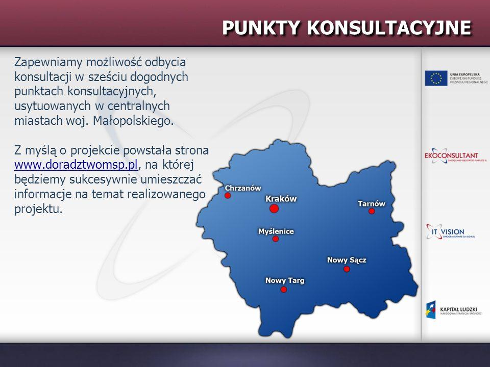 PUNKTY KONSULTACYJNE Zapewniamy możliwość odbycia konsultacji w sześciu dogodnych punktach konsultacyjnych, usytuowanych w centralnych miastach woj. M