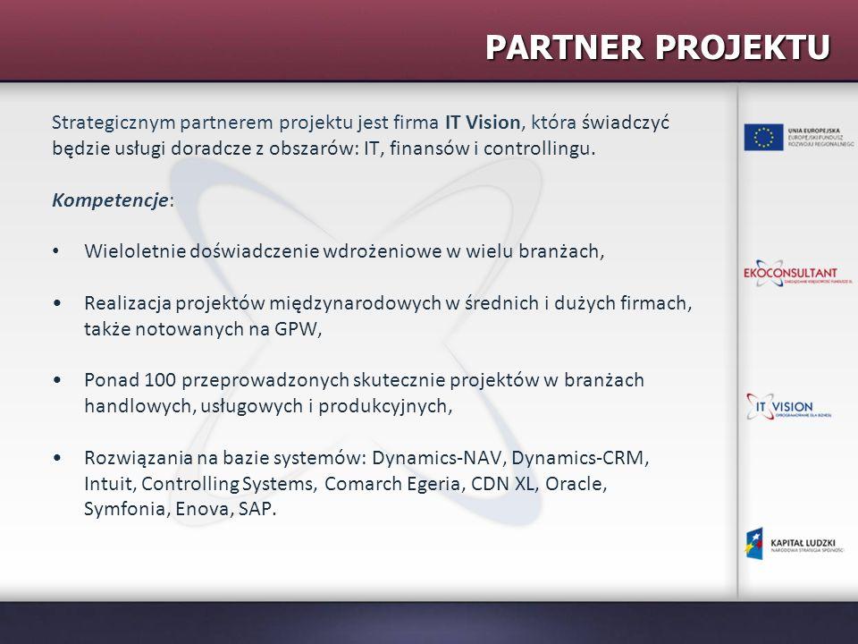 PARTNER PROJEKTU Strategicznym partnerem projektu jest firma IT Vision, która świadczyć będzie usługi doradcze z obszarów: IT, finansów i controllingu
