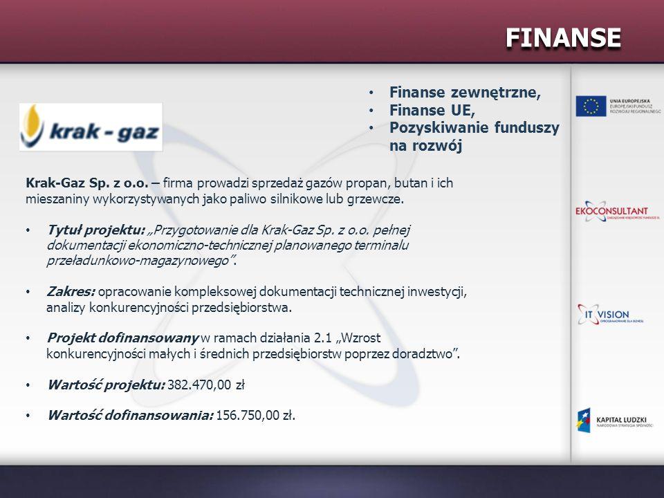 FINANSE Krak-Gaz Sp. z o.o. – firma prowadzi sprzedaż gazów propan, butan i ich mieszaniny wykorzystywanych jako paliwo silnikowe lub grzewcze. Tytuł