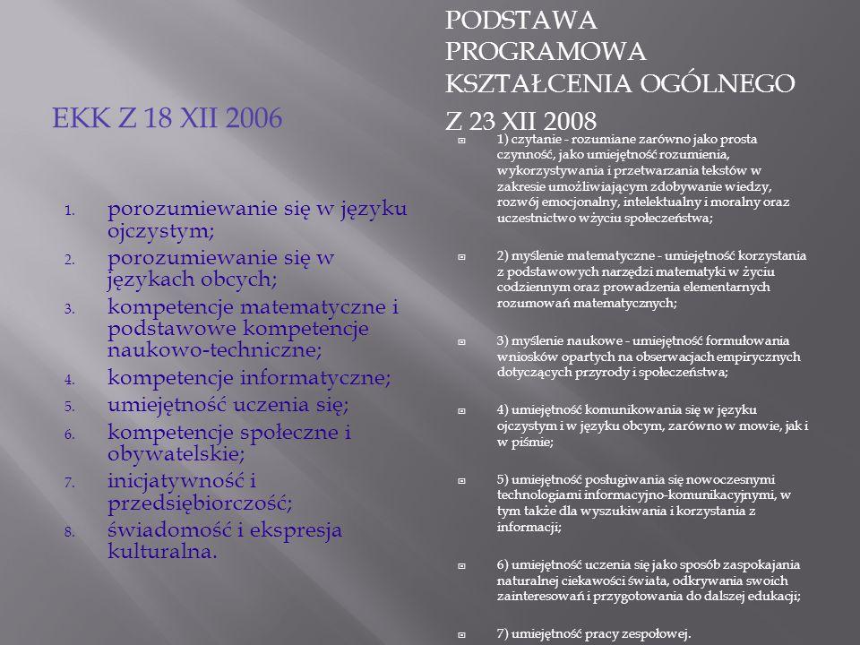 EKK Z 18 XII 2006 PODSTAWA PROGRAMOWA KSZTAŁCENIA OGÓLNEGO Z 23 XII 2008 1. porozumiewanie się w języku ojczystym; 2. porozumiewanie się w językach ob