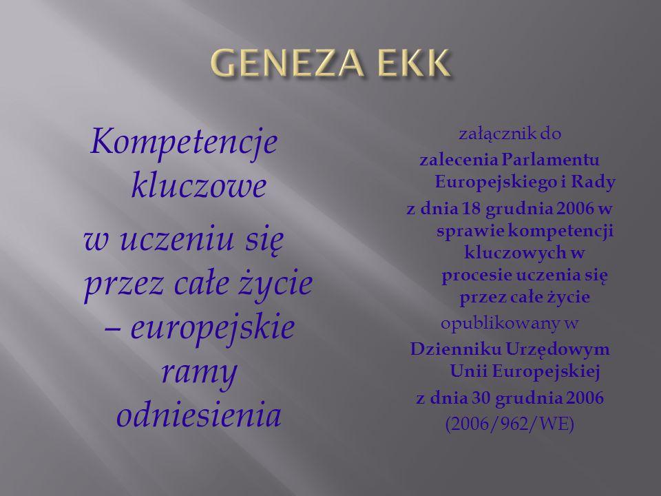Kompetencje kluczowe w uczeniu się przez całe życie – europejskie ramy odniesienia załącznik do zalecenia Parlamentu Europejskiego i Rady z dnia 18 gr