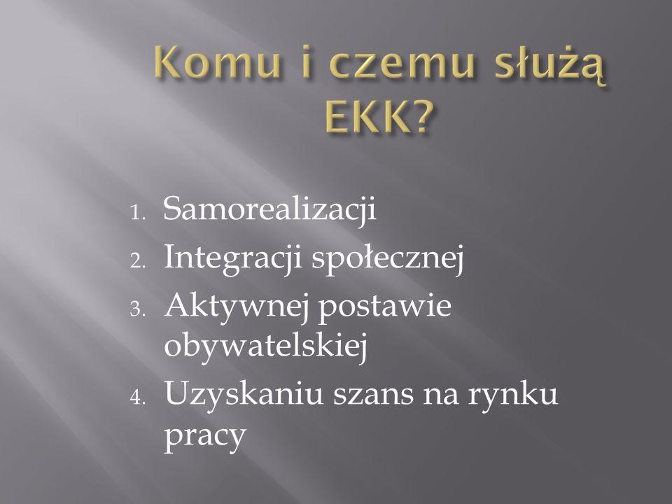 1. Samorealizacji 2. Integracji społecznej 3. Aktywnej postawie obywatelskiej 4. Uzyskaniu szans na rynku pracy