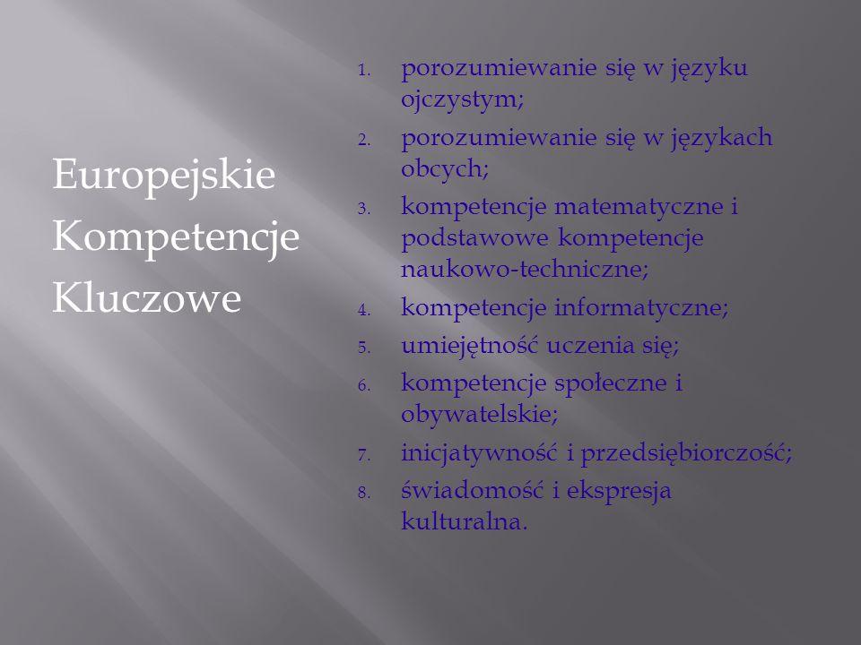 1. porozumiewanie się w języku ojczystym; 2. porozumiewanie się w językach obcych; 3. kompetencje matematyczne i podstawowe kompetencje naukowo-techni