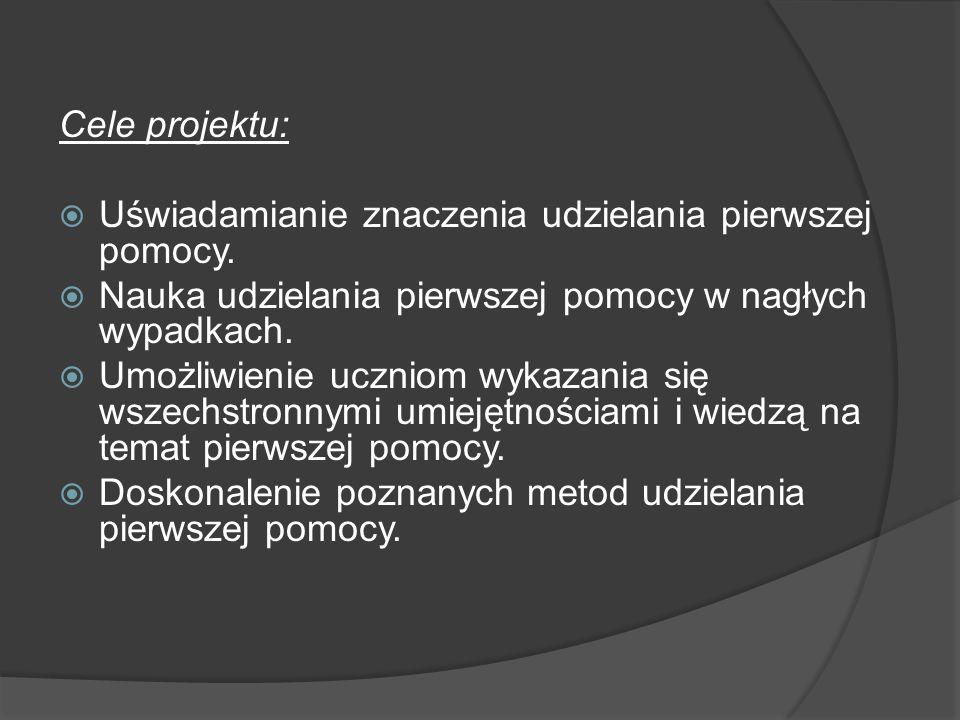 Tematyka: Pierwsza pomoc w nagłych wypadkach: a) krwotoki: zewnętrzny, wewnętrzny, b) rany, c) złamania kości, złamania otwarte, d) wstrząśnienie mózgu, e) oparzenie cieplne, chemiczne f) odmrożenia g) udar cieplny i) omdlenie j) napad padaczki k) ABC reanimacji