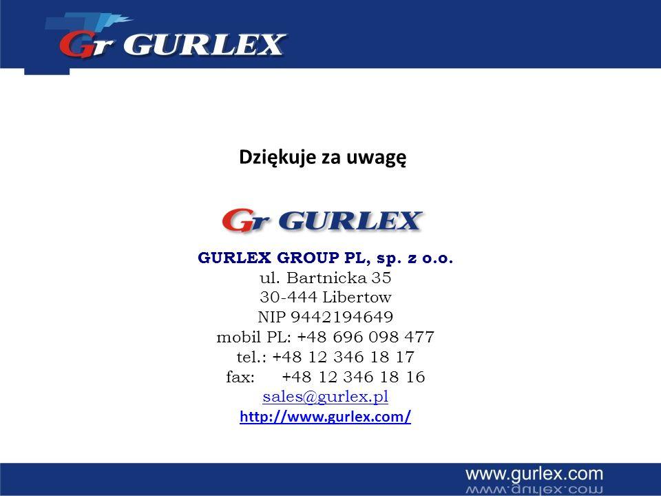 GURLEX GROUP PL, sp. z o.o. ul. Bartnicka 35 30-444 Libertow NIP 9442194649 mobil PL: +48 696 098 477 tel.: +48 12 346 18 17 fax: +48 12 346 18 16 sal