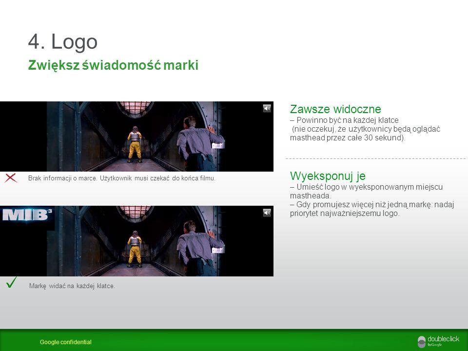 Google confidential 4. Logo Zwiększ świadomość marki Zawsze widoczne – Powinno być na każdej klatce (nie oczekuj, że użytkownicy będą oglądać masthead