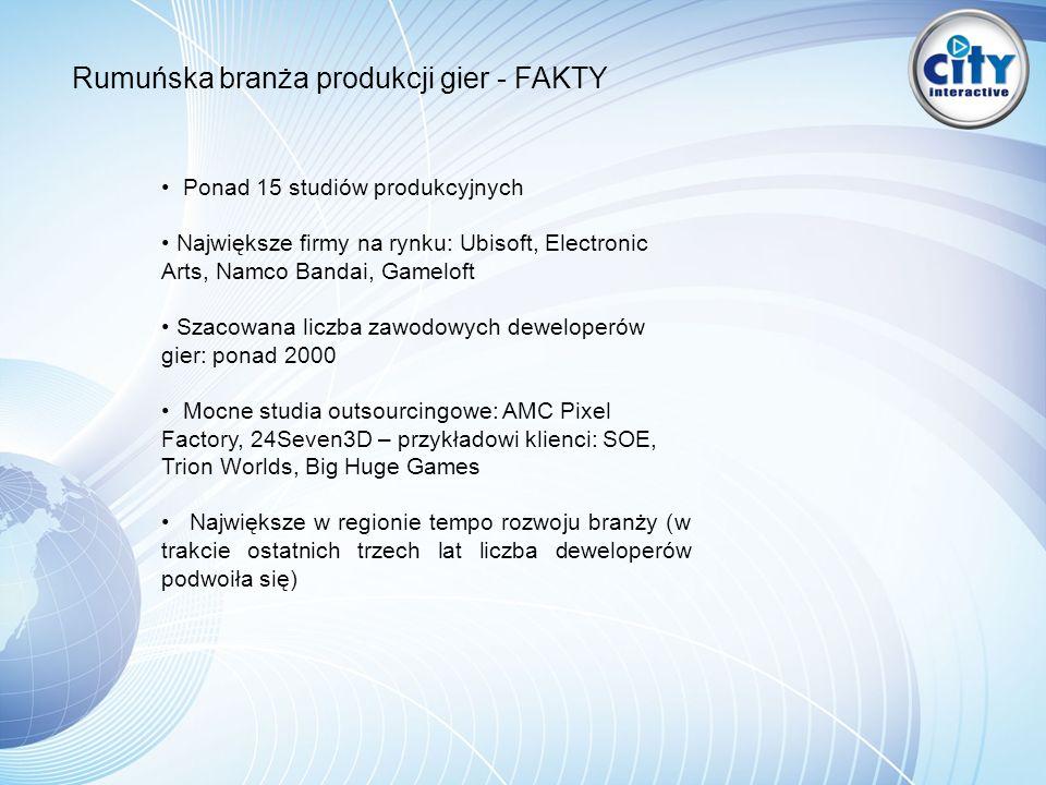 Rumuńska branża produkcji gier - FAKTY Ponad 15 studiów produkcyjnych Największe firmy na rynku: Ubisoft, Electronic Arts, Namco Bandai, Gameloft Szacowana liczba zawodowych deweloperów gier: ponad 2000 Mocne studia outsourcingowe: AMC Pixel Factory, 24Seven3D – przykładowi klienci: SOE, Trion Worlds, Big Huge Games Największe w regionie tempo rozwoju branży (w trakcie ostatnich trzech lat liczba deweloperów podwoiła się)