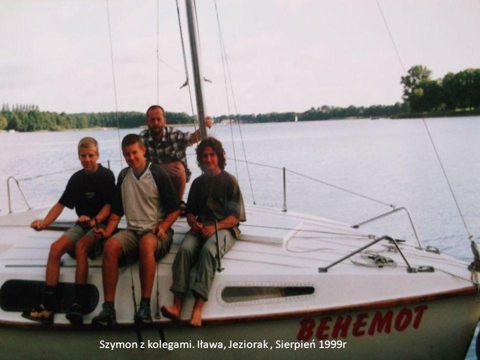 Szymon z kolegami. Iława, Jeziorak, Sierpień 1999r