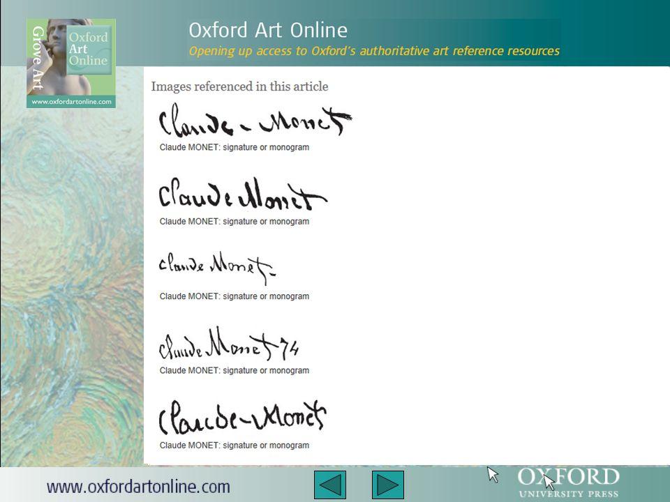 Wizerunki sygnatur artystów, monogramy oraz pieczęcie sprzedaży tudzież linki do zbiorów muzeów i galerii, jak również zapisy aukcji są dostępne w Benezit Dictionary of Artists.