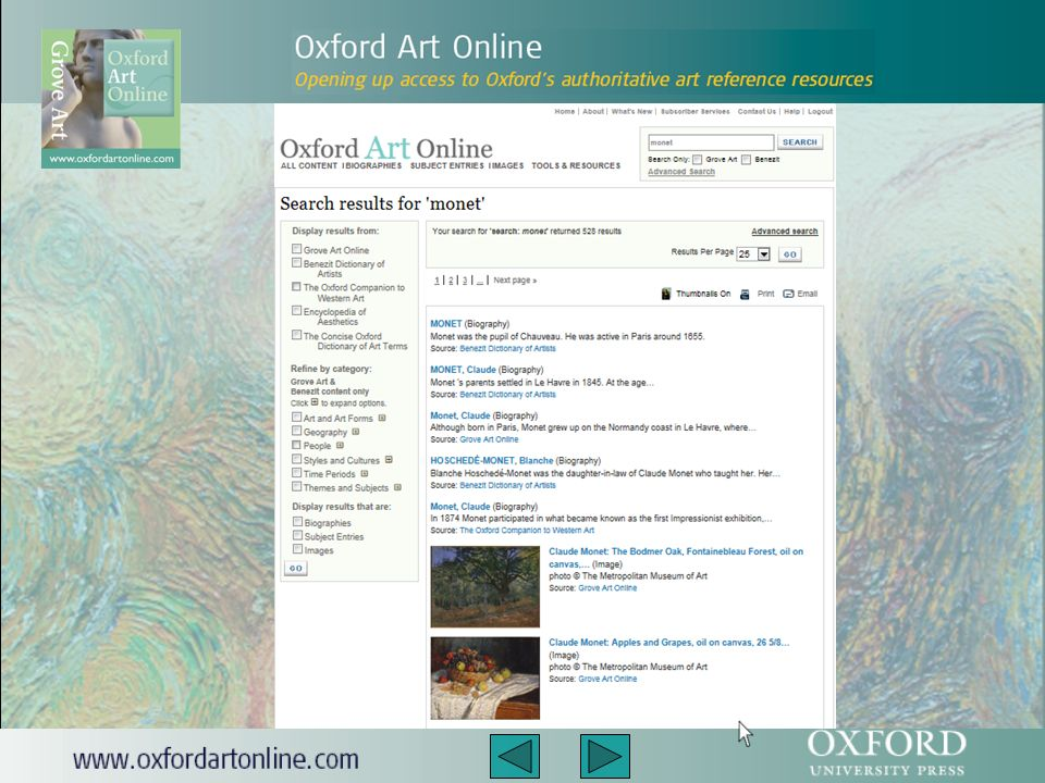 Aby wyszukać informację na temat artysty, ruchu artystycznego, dzieł sztuki w konkretnym kraju, motywu (np.ogrodów) czy choćby materiałów użytych w procesie tworzenia, należy wpisać dane hasło w pole wyszukiwarki widoczne w prawym górnym rogu strony.