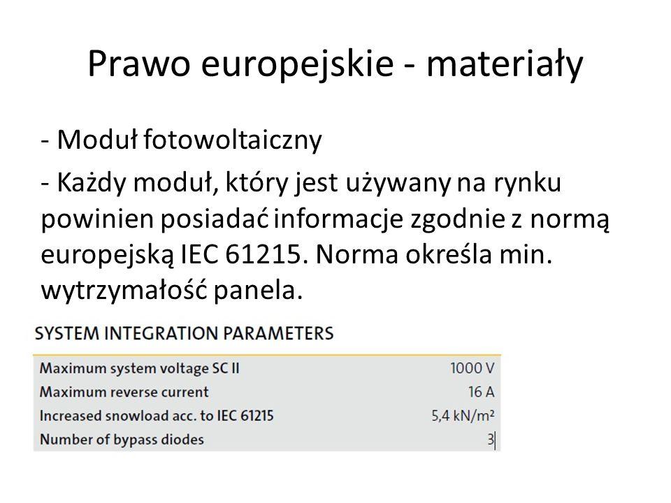 Prawo europejskie - materiały - Moduł fotowoltaiczny - Każdy moduł, który jest używany na rynku powinien posiadać informacje zgodnie z normą europejsk