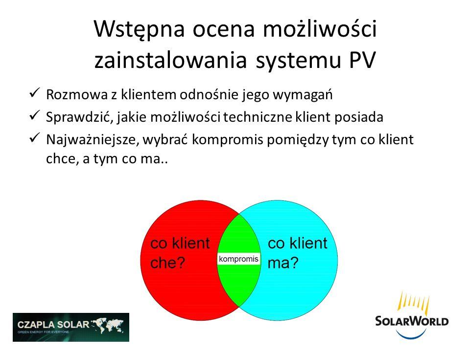 Wstępna ocena możliwości zainstalowania systemu PV Rozmowa z klientem odnośnie jego wymagań Sprawdzić, jakie możliwości techniczne klient posiada Najw