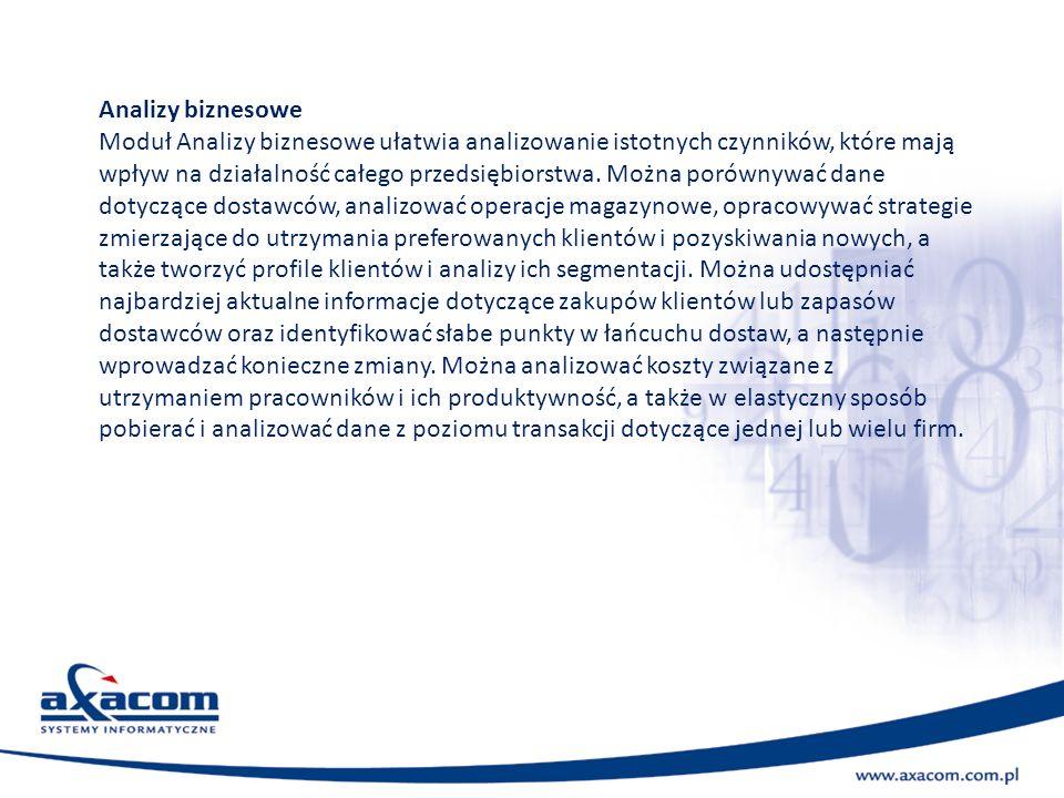 Analizy biznesowe Moduł Analizy biznesowe ułatwia analizowanie istotnych czynników, które mają wpływ na działalność całego przedsiębiorstwa. Można por
