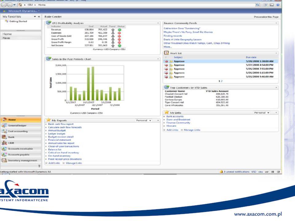 Logistyka Moduł Logistyka w systemie Microsoft Dynamics AX pozwala elastycznie zarządzać zapasami i zaopatrzeniem zgodnie z potrzebami firmy.