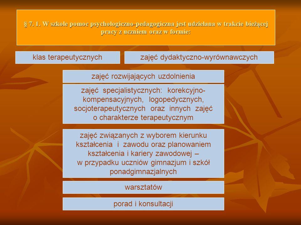 § 7. 1. W szkole pomoc psychologiczno-pedagogiczna jest udzielana w trakcie bieżącej pracy z uczniem oraz w formie: klas terapeutycznych zajęć specjal