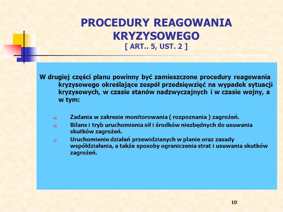 PROCEDURY REAGOWANIA KRYZYSOWEGO [ ART.. 5, UST. 2 ] W drugiej części planu powinny być zamieszczone procedury reagowania kryzysowego określające zesp