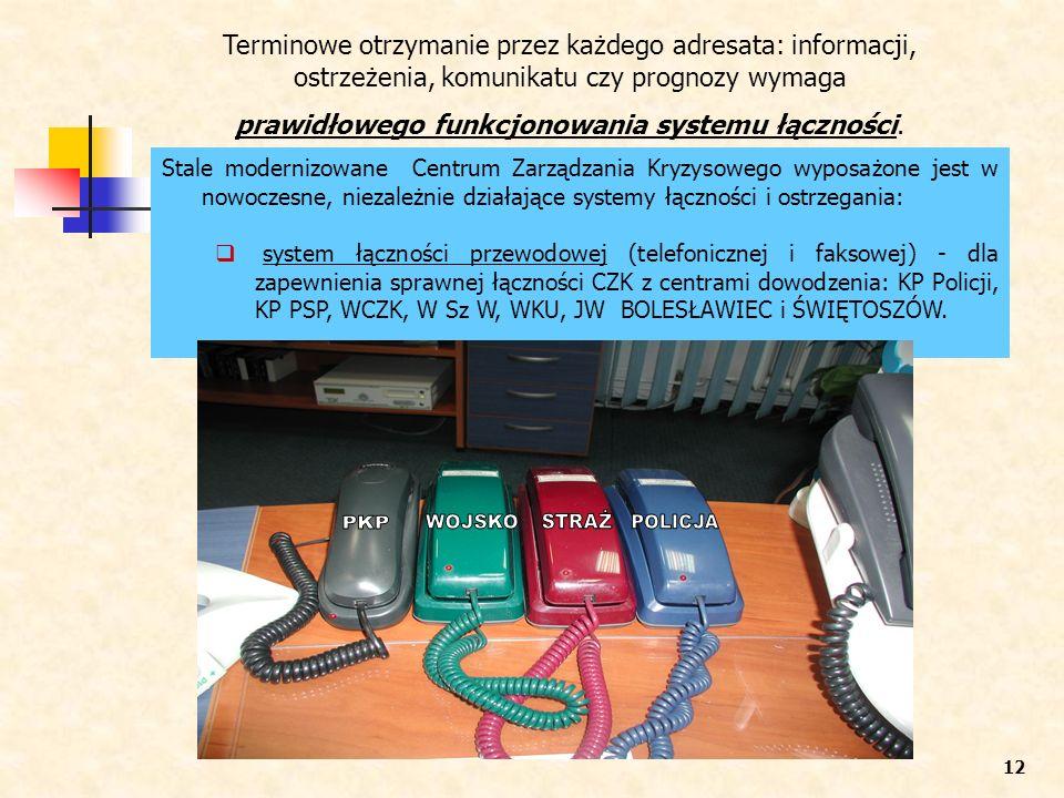 Stale modernizowane Centrum Zarządzania Kryzysowego wyposażone jest w nowoczesne, niezależnie działające systemy łączności i ostrzegania: system łączn