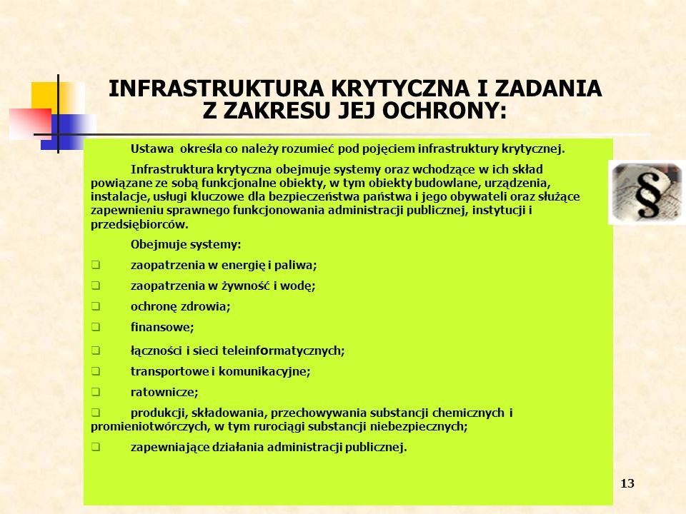 INFRASTRUKTURA KRYTYCZNA I ZADANIA Z ZAKRESU JEJ OCHRONY: Ustawa określa co należy rozumieć pod pojęciem infrastruktury krytycznej. Infrastruktura kry