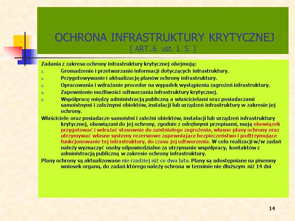 OCHRONA INFRASTRUKTURY KRYTYCZNEJ [ ART..6. ust. 1. 5. ] Zadania z zakresu ochrony infrastruktury krytycznej obejmują: 1. Gromadzenie i przetwarzanie