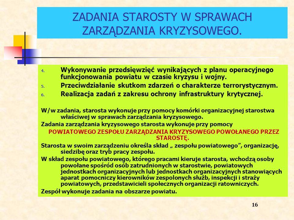 ZADANIA STAROSTY W SPRAWACH ZARZĄDZANIA KRYZYSOWEGO. 4. Wykonywanie przedsięwzięć wynikających z planu operacyjnego funkcjonowania powiatu w czasie kr