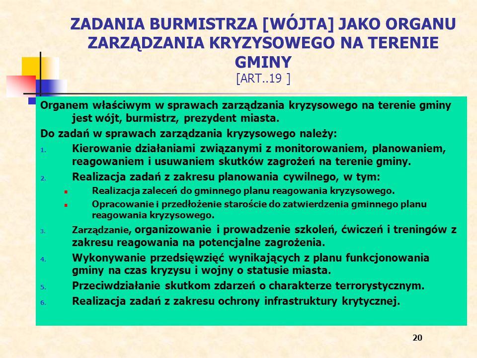 ZADANIA BURMISTRZA [WÓJTA] JAKO ORGANU ZARZĄDZANIA KRYZYSOWEGO NA TERENIE GMINY [ART..19 ] Organem właściwym w sprawach zarządzania kryzysowego na ter