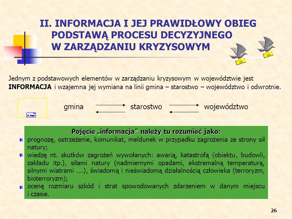 Pojęcie informacja należy tu rozumieć jako: prognozę, ostrzeżenie, komunikat, meldunek w przypadku zagrożenia ze strony sił natury; wiedzę nt. skutków