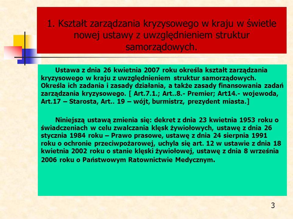 1. Kształt zarządzania kryzysowego w kraju w świetle nowej ustawy z uwzględnieniem struktur samorządowych. Ustawa z dnia 26 kwietnia 2007 roku określa
