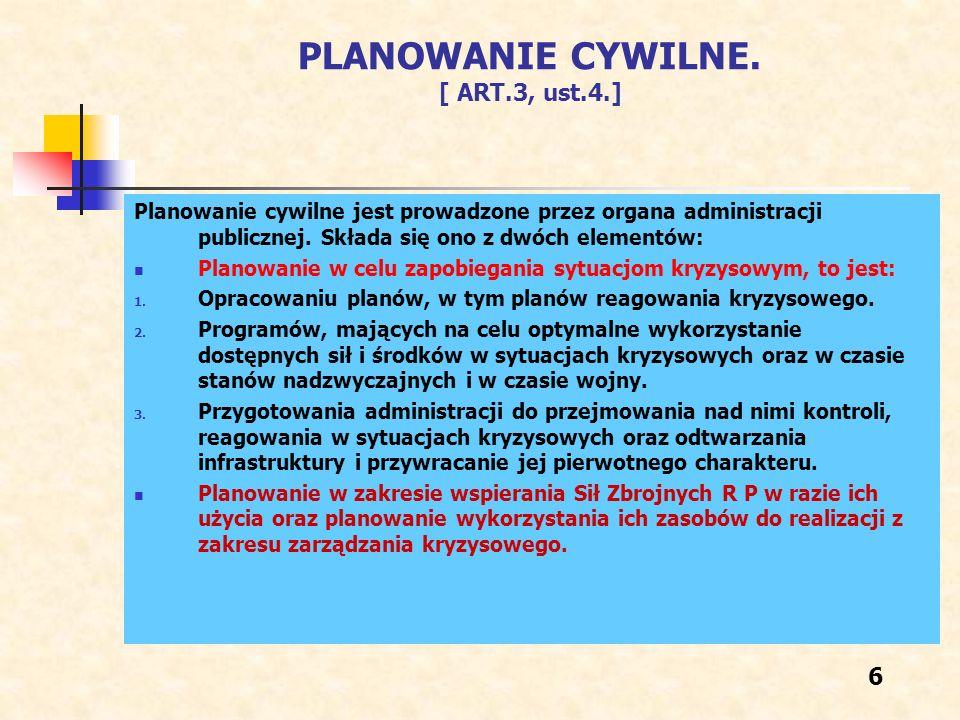 ZADANIA ADMINISTRACJI Z ZAKRESU PLANOWANIA CYWILNEGO [ART.4] Zadania obejmują: 1.
