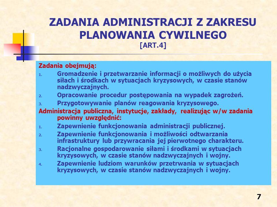 ZADANIA ADMINISTRACJI Z ZAKRESU PLANOWANIA CYWILNEGO [ART.4] Zadania obejmują: 1. Gromadzenie i przetwarzanie informacji o możliwych do użycia siłach