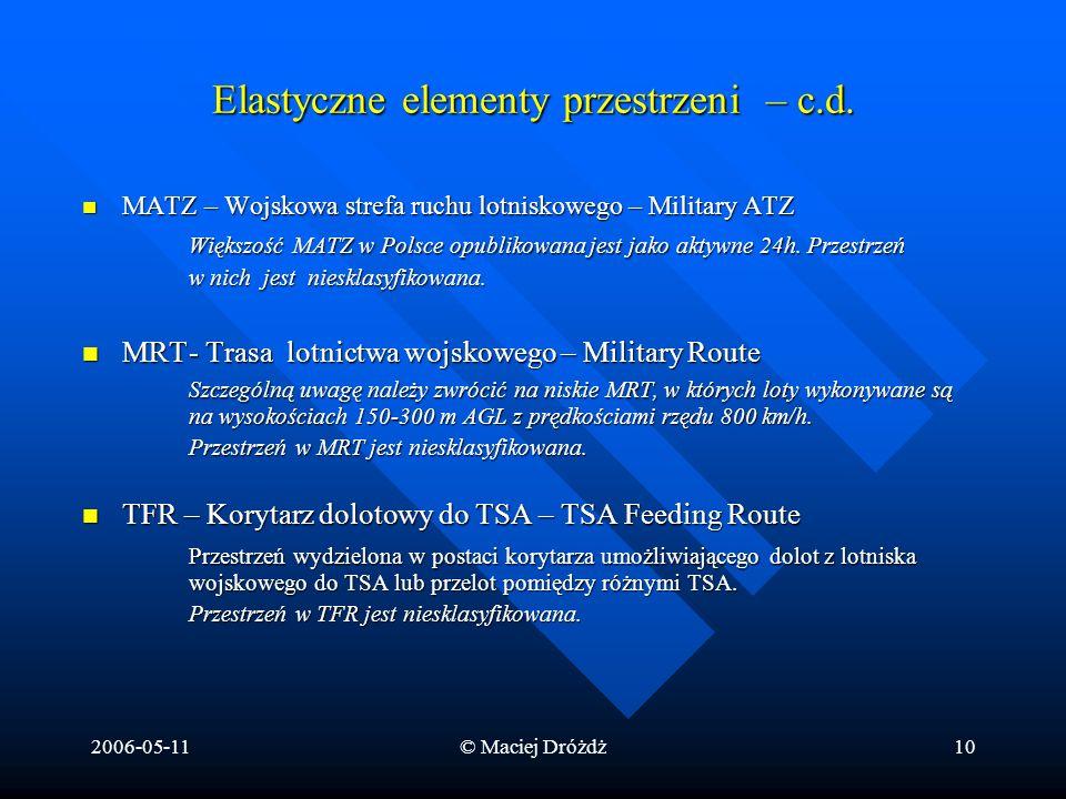 2006-05-11© Maciej Dróżdż10 Elastyczne elementy przestrzeni – c.d. MATZ – Wojskowa strefa ruchu lotniskowego – Military ATZ MATZ – Wojskowa strefa ruc
