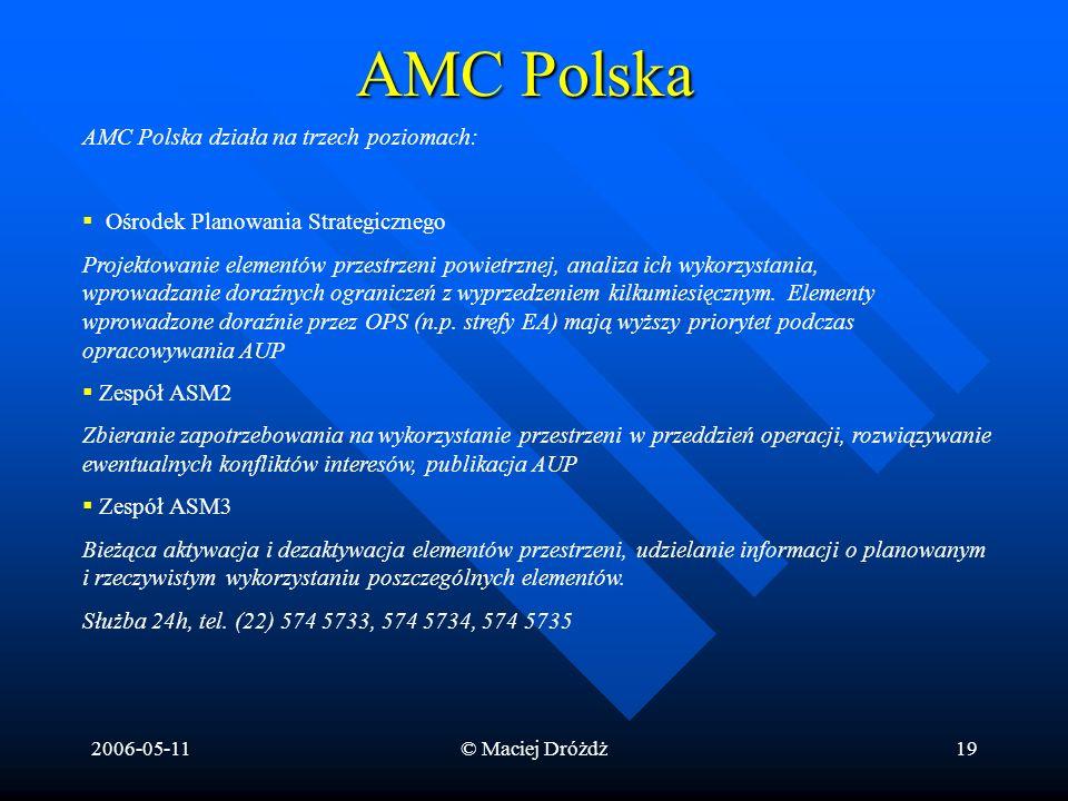 2006-05-11© Maciej Dróżdż19 AMC Polska AMC Polska działa na trzech poziomach: Ośrodek Planowania Strategicznego Projektowanie elementów przestrzeni po